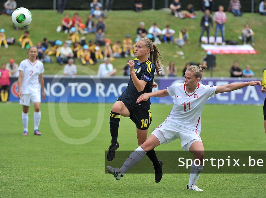 Poland - Sweden : duel tussen Dominika Deren (11) en Adelisa Grabus (10)<br /> foto David Catry / Nikonpro.be