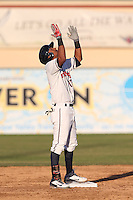 Danry Vasquez #13 of the Lancaster JetHawks during a game against the Bakersfield Blaze at The Hanger on May 13, 2014 in Lancaster California. Lancaster defeated Bakersfield, 1-0. (Larry Goren/Four Seam Images)