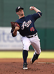 Reno Aces' Andrew Chafin pitches against the Omaha Storm Chasers, in Reno, Nev., on Sunday, Aug. 24, 2014.<br /> Photo by Cathleen Allison