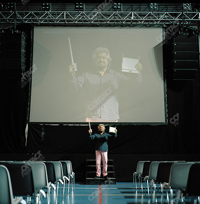 Beppe Grillo, the actor, comedian and activist in the Sporting Palace of Novarra, Northern Italy, a few hours before he performed to a sell-out audience of 5,000 people. October 10, 2007