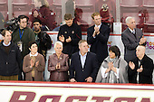 Tom Cross, Kelly Cross, Denise Carey, Bert Lenz (BC - Trainer), Paul Carey, Greg Brown (BC - Assistant Coach), Ellen Atkinson, Jerry York (BC - Head Coach), Tom Atkinson - The Boston College Eagles defeated the University of Vermont Catamounts 4-0 on Saturday, March 3, 2012, at Kelley Rink/Conte Forum in Chestnut Hill, Massachusetts. The two points from the win gave BC the Hockey East regular season championship.