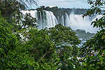 Iguazu Falls National Park in Argentina at right with Brazil at left.  A UNESCO World Heritage Site.  Pictured is the Santa Maria Waterfall at left with the Devil's Throat or Garganta del Diablo at right.