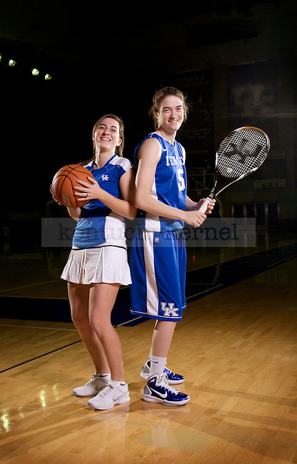 Sisters Carly Morrow (right) and Meredith Morrow (left) are both student athletes at the University of Kentucky. Carly is a senior basketball player and Meredith is a freshman tennis player. Photo by Scott Hannigan | Staff