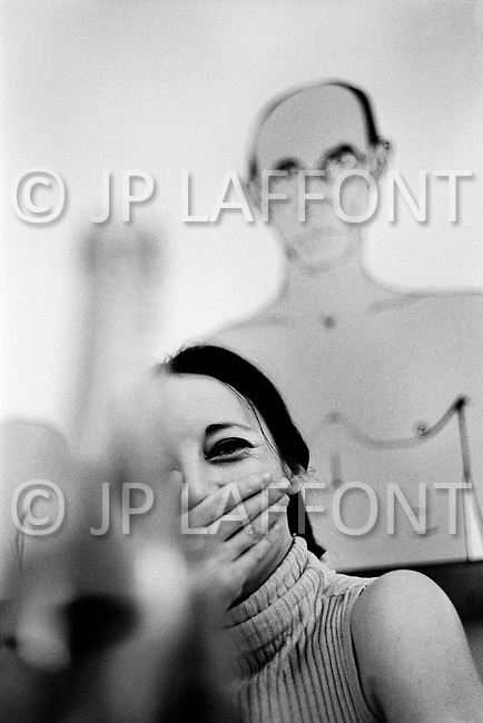 """April 1967. Manhattan, New York. France Raysse wife and muse of french artist Martial Raysse in her apartment in NYC. Martial developed what became his """"vision hygiene"""" concept: a vision that showcases consumer society."""