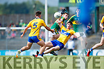 Barry Mahony Kerry in action against Keith White Clare in the Munster Minor Football Final at Fitzgerald Stadium on Sunday.