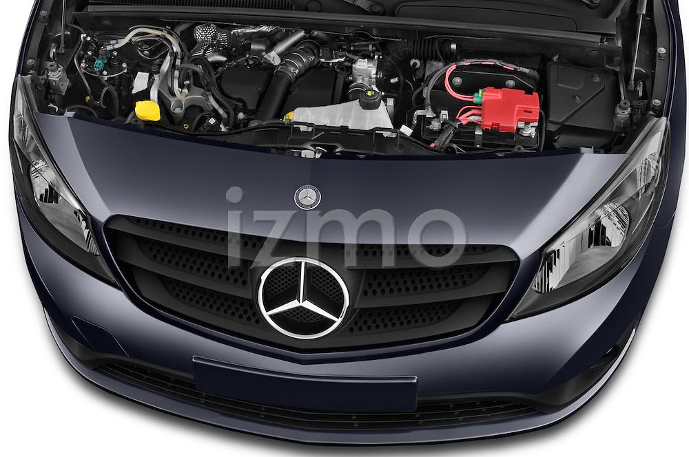 Car Stock 2015 Mercedes Benz Citan 109 Cdi 5 Places 5 Door Passenger Van Engine high angle detail view