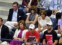 FLUSHING NY- SEPTEMBER 04: ***NO NY DAILIES*** Anna Wintour and Mirka Federer watch from the coaches box during the match on Arthur Ashe Stadium during the US Open at the USTA Billie Jean King National Tennis Center on September 4, 2017 in Flushing Queens. Credit: mpi04/MediaPunch
