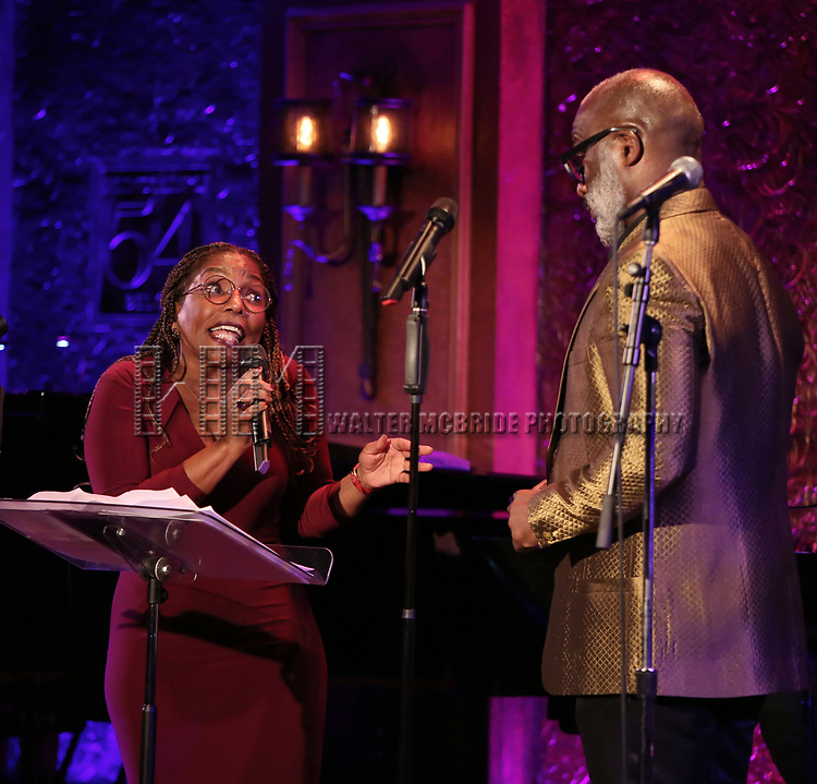 """Stephanie Mills and BeBe Winans on stage during a Song preview performance of the BeBe Winans Broadway Bound Musical """"Born For This"""" at Feinstein's 54 Below on November 5, 2018 in New York City."""