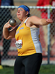 SIOUX FALLS, SD - MAY 2:  Shelby Assmus from South Dakota State University throws the shot Friday afternoon at the Howard Wood Dakota Relays. (Photo by Dave Eggen/Inertia)