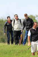 Spectators on the 6th during Round 1 of the Irish Amateur Close Championship at Seapoint Golf Club on Saturday 7th June 2014.<br /> Picture:  Thos Caffrey / www.golffile.ie