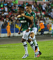 TULUA-COLOMBIA, 27-08-2016. John Pajoy jugador del Deportivo Cali celebra su gol el Cortuluá  durante encuentro  por la fecha 10 de la Liga Aguila II 2016 disputado en el estadio12 de Octubre de Tuluá./John Pajoy player of Deportivo Cali celebrates his goal against  of Cortulua during match for the date 10 of the Aguila League II 2016 played at 12 de Octubre stadium in Tulua. Photo:VizzorImage / Nelson Rios  / Cont