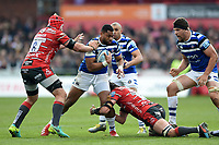 Joe Cokanasiga of Bath Rugby takes on the Gloucester Rugby defence. Gallagher Premiership match, between Gloucester Rugby and Bath Rugby on April 13, 2019 at Kingsholm Stadium in Gloucester, England. Photo by: Patrick Khachfe / Onside Images