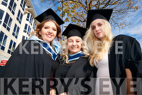Muireann Claffey (Killarney), Aoife O'Connor (Listowel) and Heather Setterfield (Knocknagoshel), who graduated with a BA Honours Degree in Early Childhood Care and Education, from IT Tralee, on Friday morning last, at the Brandon Conference Centre, Tralee.