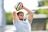 David Nelson of Doncaster Knights practises his throwing in during the pre-match warm-up. Greene King IPA Championship match, between Yorkshire Carnegie and Doncaster Knights on September 17, 2017 at Headingley Stadium in Leeds, England. Photo by: Patrick Khachfe / Onside Images