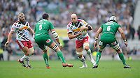 George Robson of Harlequins in action against Dan Leo (left) and Blair Cowan of London Irish during the Premiership Rugby Round 1 match between London Irish and Harlequins at Twickenham Stadium on Saturday 6th September 2014 (Photo by Rob Munro)