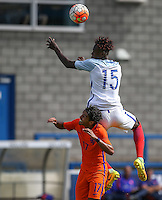 Trevoh Chalobah (Chelsea) of England U19 rises above Mitchell Van Rooijen (Jong FC Utrecht) of Holland during the International match between England U19 and Netherlands U19 at New Bucks Head, Telford, England on 1 September 2016. Photo by Andy Rowland.