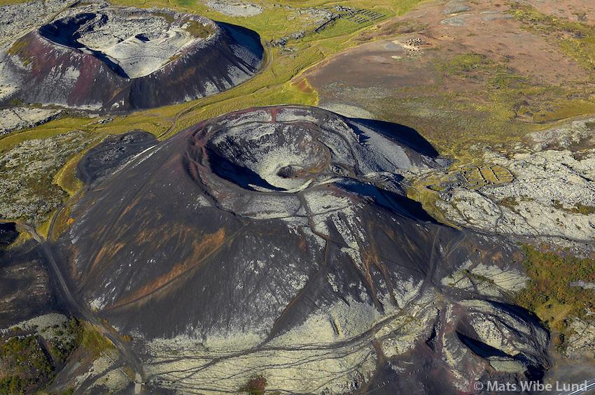 Rauðbrók og Grábrók séð til vesturs, Norðurárdalshreppur /.Raudbrok and Grabrok craters near Bifrost in Nordurardalshreppur