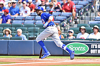 Chicago Cubs center fielder Dexter Fowler (24) swings at a pitch during a game against the Atlanta Braves at Turner Field on June 11, 2016 in Atlanta, Georgia. The Cubs defeated the Braves 8-2. (Tony Farlow/Four Seam Images)