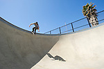 Kelton Woodburn skates the bowl during a skate session at Ojai Skatepark in Ojai, Calif., on Friday April 12, 2013.