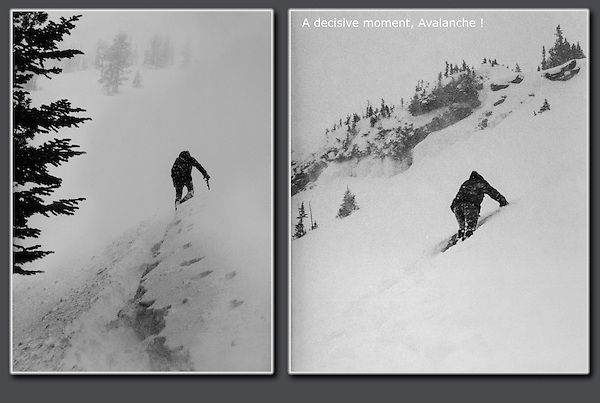 Avalanche! The moment I decided to turn around, 'whump.' Wallowa Mountains, northeast Oregon.