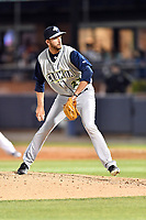 Columbia Fireflies starting pitcher Joe Cavallaro (23) delivers a pitch during a game against the Asheville Tourists at McCormick Field on April 12, 2018 in Asheville, North Carolina. The Fireflies defeated the Tourists 7-5. (Tony Farlow/Four Seam Images)