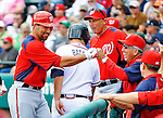6 March 2012: Washington Nationals infielder Mark DeRosa returns to the dugout after scoring during a Spring Training game against the Atlanta Braves at Champion Park in Disney's Wide World of Sports Complex, Orlando, Florida. The Nationals defeated the Braves 5-2 in Grapefruit League action. Mandatory Credit: Ed Wolfstein Photo