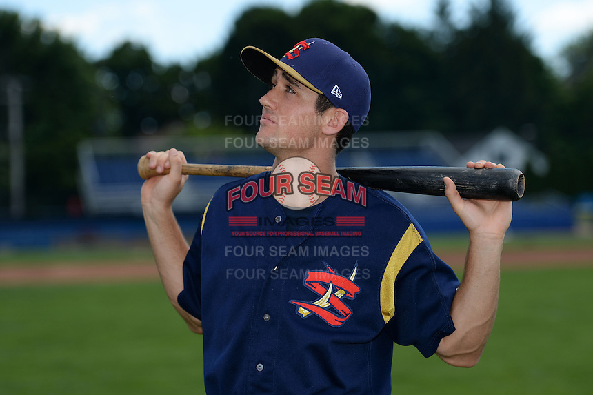State College Spikes second baseman Danny Diekroeger (19) jokingly poses for a photo before a game against the Batavia Muckdogs on June 22, 2014 at Dwyer Stadium in Batavia, New York.  State College defeated Batavia 10-3.  (Mike Janes/Four Seam Images)