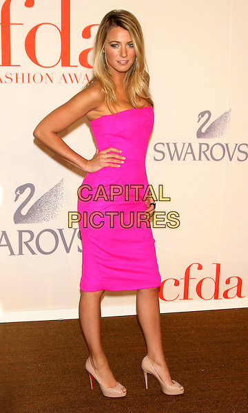 BLAKE LIVELY.2009 CFDA Fashion Awards at Lincoln Center's Alice Tully Hall, New York, NY, USA..June 15th, 2009.full length pink neon fluorescent strapless dress beige peep toe shoes hand on hip.CAP/LNC/TOM.©TOM/LNC/Capital Pictures.