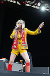 © Joel Goodman - 07973 332324 . 20/07/2013 . Suffolk , UK . Karen O (aka Karen Orzolek ) of Yeah Yeah Yeahs on the Obelisk Stage . The Latitude music and culture festival in Henham Park , Southwold . Photo credit : Joel Goodman