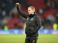 2nd November 2019; Hampden Park, Glasgow, Scotland; Scottish League Cup Football, Hibernian versus Celtic; Celtic Manager Neil Lennon raises a fist in celebration to the supporters after his side win the semi final - Editorial Use