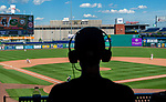 HARTFORD, CT-062520JS06—Broadcaster James Clark does the play-by-play for radio listeners during the Connecticut Twilight League baseball game between the Terryville Black Sox and the Great Falls Gators Thursday at Dunkin Donuts Park in Hartford. <br /> Jim Shannon Republican-American
