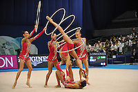 September 13, 2009; Mie, Japan;  Italian rhythmic group performs during 5-hoops Event Final after earlier winning gold in group All Around the day before at the 2009 World Championships Mie, Japan. (L-R) Romina Laurito, Elisa Blanchi, Elisa Santoni, Giulia Galtarossa, Anzhelika Savrayuk, Elisa Santoni (below). Photo by Tom Theobald .
