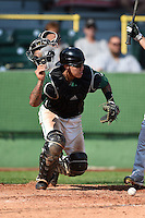 Clinton LumberKings catcher Christian Carmichael (33) retrieves a pitch in the dirt during a game against the Beloit Snappers on August 17, 2014 at Ashford University Field in Clinton, Iowa.  Clinton defeated Beloit 4-3.  (Mike Janes/Four Seam Images)