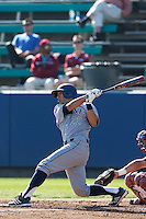 Chris Rabago #22 of the UC Irvine Anteaters bats against the Loyola Marymount Lions at Page Field on February 26, 2013 in Los Angeles, California. (Larry Goren/Four Seam Images)