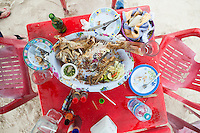 Fried fresh fish. On holiday with the boys, Mahahual, Quintana Roo, Mexico