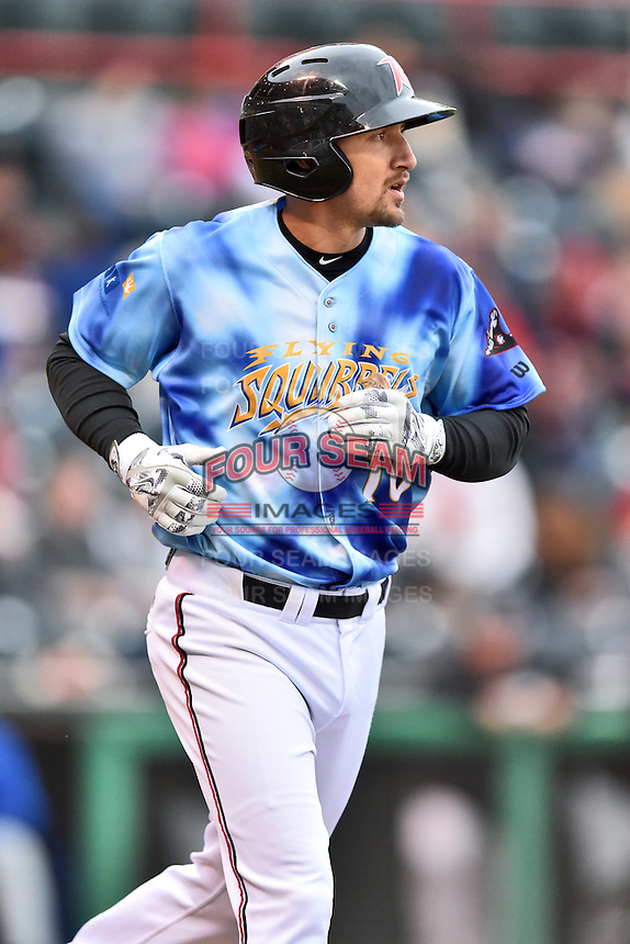 Richmond Flying Squirrels center fielder Myles Schroder (16) runs to first during a game against the Hartford Yard Goats at The Diamond on April 30, 2016 in Richmond, Virginia. The Yard Goats defeated the Flying Squirrels 5-1. (Tony Farlow/Four Seam Images)