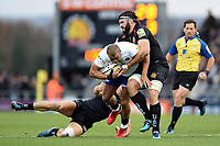 Jonathan Joseph of Bath Rugby takes on the Exeter Chiefs defence. Aviva Premiership match, between Exeter Chiefs and Bath Rugby on December 2, 2017 at Sandy Park in Exeter, England. Photo by: Patrick Khachfe / Onside Images