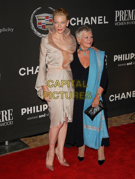 CATE BLANCHETT & DAME JUDI DENCH.Attends The 13th Annual Premiere Women in Hollywood held at The Beverly Hills Hotel in Beverly Hills, California, USA, September 20th 2006..full length kate blanchet cream beige gold satin silk dress peach collar ruffle neck turquoise wrap scarf necklace choker.Ref: DVS.www.capitalpictures.com.sales@capitalpictures.com.©Debbie VanStory/Capital Pictures