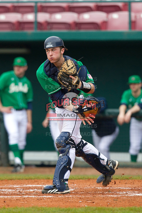 Notre Dame Fighting Irish catcher Joe Hudson #4 throws to second during a game against the Purdue Boilermakers at the Big Ten/Big East Challenge at Al Lang Stadium on February 19, 2012 in St. Petersburg, Florida.  (Mike Janes/Four Seam Images)