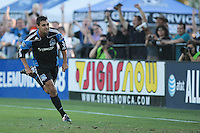 Chris Wondolowski celebrates after scoring his first goal. The San Jose Earthquakes tied the Vancouver Whitecaps 2-2 at Buck Shaw Stadium in Santa Clara, California on July 20th, 2011.