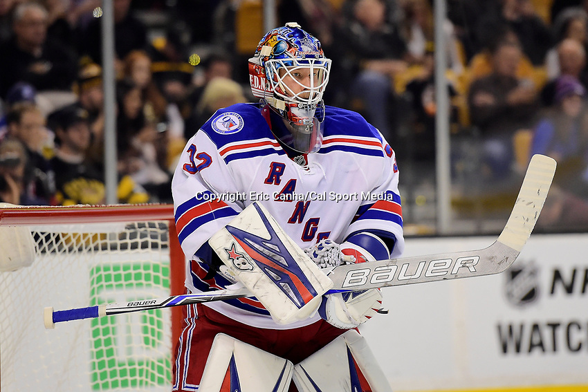 Saturday, November 5, 2016: New York Rangers goalie Antti Raanta (32) waits for play to begin during the National Hockey League game between the New York Rangers and the Boston Bruins held at TD Garden, in Boston, Mass. The Rangers defeat the Bruins 5-2. Eric Canha/CSM
