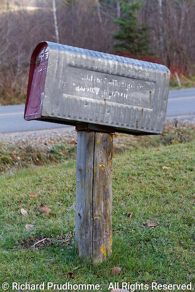 A metal rural mailbox