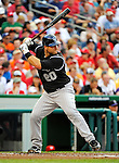 9 July 2011: Colorado Rockies catcher Chris Iannetta in action against the Washington Nationals at Nationals Park in Washington, District of Columbia. The Rockies edged out the Nationals 2-1 to win the second game of their 3-game series. Mandatory Credit: Ed Wolfstein Photo