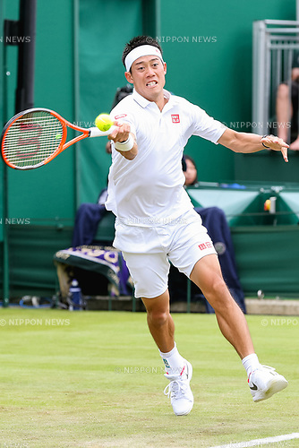 Kei Nishikori (JPN), JULY 3, 2017 - Tennis : Kei Nishikori of Japan during the Men's singles first round match of the Wimbledon Lawn Tennis Championships against Marco Cecchinato of Italy at the All England Lawn Tennis and Croquet Club in London, England. (Photo by AFLO)