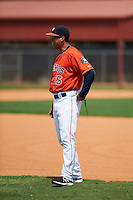 GCL Astros hitting coach Vinny Lopez (15) before a game against the GCL Braves on July 23, 2015 at the Osceola County Stadium Complex in Kissimmee, Florida.  GCL Braves defeated GCL Astros 4-2.  (Mike Janes/Four Seam Images)