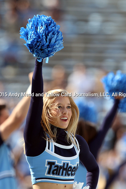 24 October 2015: UNC cheerleader. The University of North Carolina Tar Heels hosted the University of Virginia Cavaliers at Kenan Memorial Stadium in Chapel Hill, North Carolina in a 2015 NCAA Division I College Football game. UNC won the game 26-13.