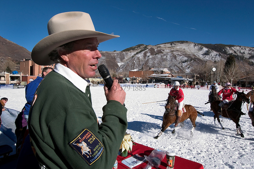 Commentator Barry Stout announces the action during the World Snow Polo Championship match at Wagner Park in Aspen, CO. © Michael Brands.