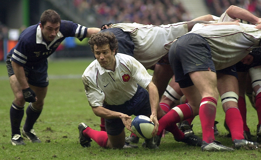 Photo Peter Spurrier.23/02/2003.Sport -SIX NATIONS RUGBY - France v Scotland.Fabien Galthie