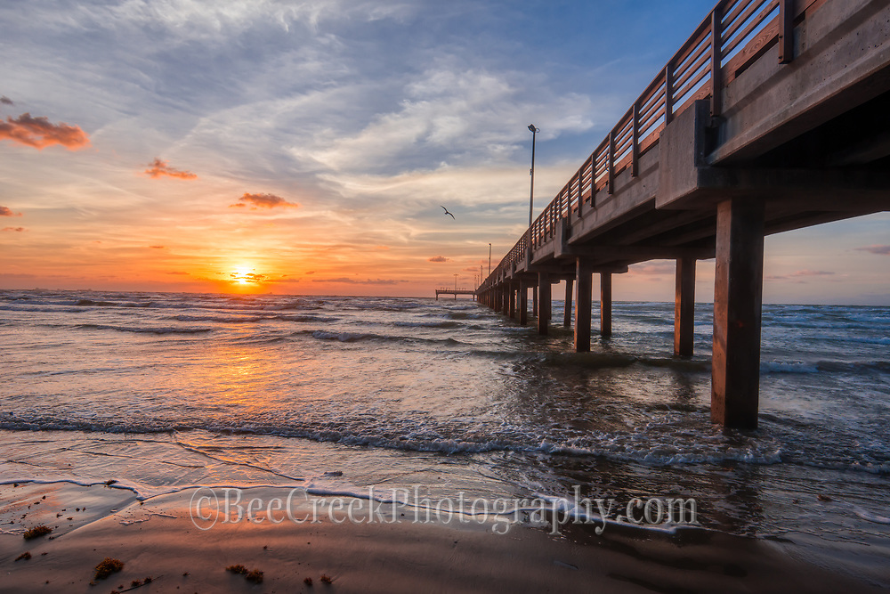 This was another photo we capture of the spectacular sunrise at the Caldwell Pier this morning on the beach in Texas along side this fishing pier.  There was good colors in the skys, the surf was calm and it was just about perfect for this seascape along the  Texas coast, so great.