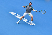 11th January 2018, Sydney Olympic Park Tennis Centre, Sydney, Australia; Sydney International Tennis,quarter final; Adrian Mannarino (ITA) hits a forehand in his match against Fabio Fognini (ITA)